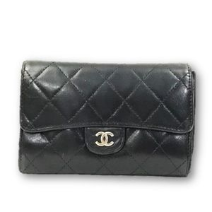 Chanel Quilted Leather Small Flap Wallet Black